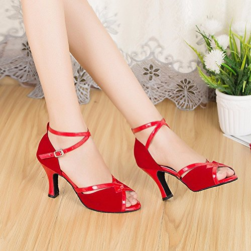 rouge6cm US5.5 EU36 UK3 CN35 Masocking@ Femme Chaussures de Danse Sandales Soft
