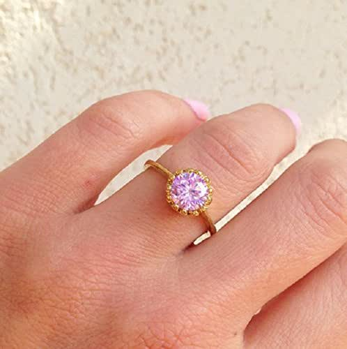 October Birthstone Jewelry Prong Ring Gemstone Ring Simple Ring Rose Quartz Ring Teardrop Ring Gold Ring Pink Quartz Ring