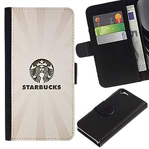EJOY---La carpeta del tirón la caja de cuero de alta calidad de la PU Caso protector / Apple Iphone 6 / --Los Bucks Café Beige Pastel Logo