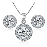 Zhang Trading Co., Ltd. White Gold Halo CZ Box Chain Necklace+Stud Earrings Set (White Gold)
