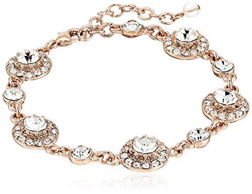 Napier Women's Rose Gold and Crystal Circle Flex Link Bracelet