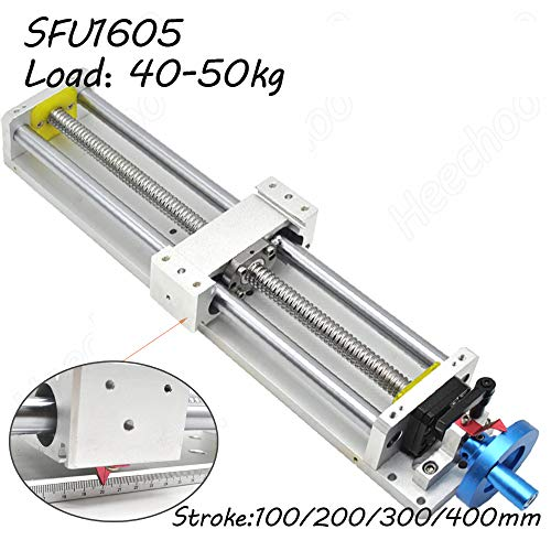 Linear Stage Actuator Ball Screw SFU1605 + Optical Axis Linear Rail Guide 400mm Manual Slide Stage with Ruler for DIY CNC Router Controller ...