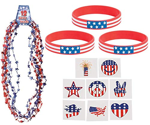 Nikki's Knick Knacks 60 Piece Patriotic Party Favor Set- 4th of July- Memorial Day- Necklaces, Bracelets, and Tattoos ()
