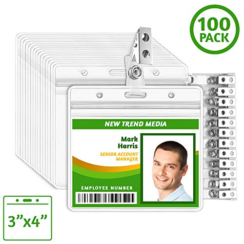 EcoEarth 3x4 Top Load Horizontal ID Badge Holder with Metal Clips (Fits 3