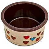 Harmony Heart Print Brown Ceramic Dog Bowl, 3 Cup, Medium, Multi-Color For Sale