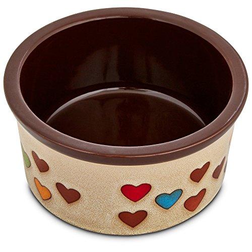 Harmony Heart Print Brown Ceramic Dog Bowl, 3 Cup, Medium, Multi-Color