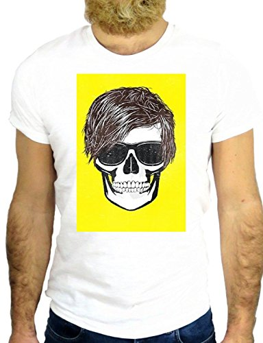 T SHIRT JODE Z2454 SKULL HANDY ANDY ARTIST COOL SUNGLASS FUN NEW YORK ART GGG24 BIANCA - WHITE L