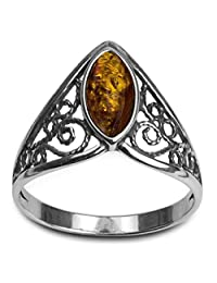 Sterling Silver Amber Celtic Lace Ring