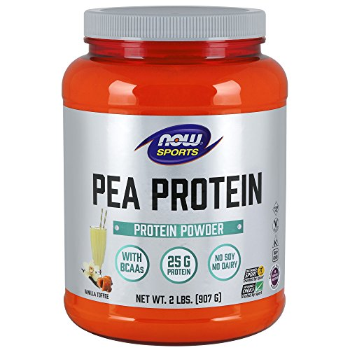 Now Sports Pea Protein Vanilla Toffee Powder, 2-Pounds