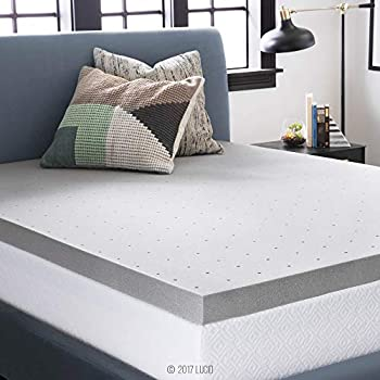 LUCID 3 Inch Bamboo Charcoal Memory Foam Mattress Topper - Twin