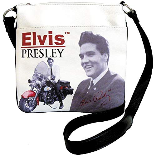 Elvis Presley Motorcycle Messenger Bag Synthetic Leather Crossbody w/Zipper