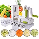 Folding 5-Blade Spiralizer - Vegetable Spiral Slicer Zucchini Spaghetti and Pasta Maker For for Low Carb/Paleo/Gluten-Free Meals By Vinipiak