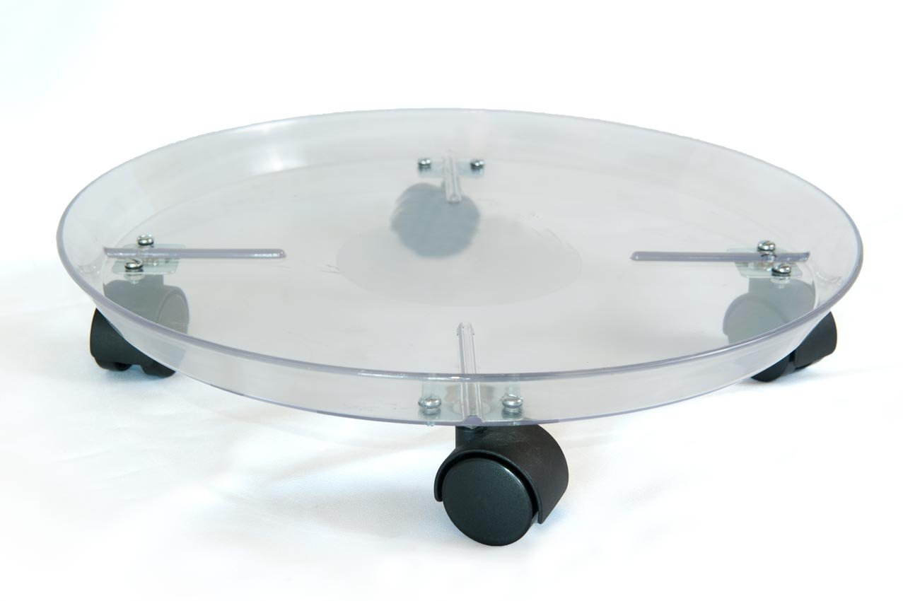 KECO 14'' Clear Round Rolling Plastic Plant Saucer/Caddy - Crack and Break Resistant Heavy Plastic