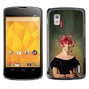 Shell-Star Arte & diseño plástico duro Fundas Cover Cubre Hard Case Cover para LG Google NEXUS 4 / Mako / E960 ( Portrait Painting Art Face Rose Petals Symbolic )