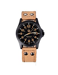 [Men's Watch, black dial, Khaki band] Franterd®Vintage Classic Men's Leather Strap Quartz Army Watch