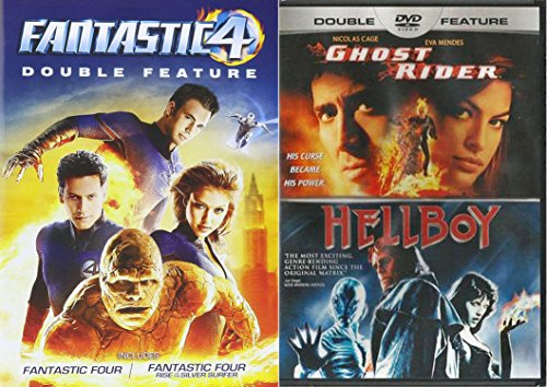 Marvel Superheroes 4-Movie Set - Fantastic Four, Fantastic Four: Rise of the Silver Surfer, Ghost Rider & Hellboy 4-DVD Bundle