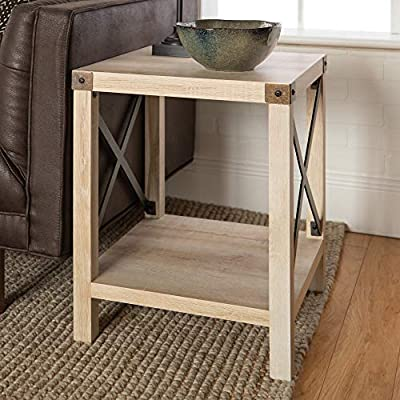 "Walker Edison Furniture Company Rustic Modern Farmhouse Metal and Wood Square Side Accent Living Room Small End Table, 18 Inch, White Oak - Dimensions: 22"" H x 18"" L x 18"" W Pair with matching coffee table for a complete living room set High-grade MDF and laminate table top - living-room-furniture, living-room, end-tables - 51d4QQADpBL. SS400  -"