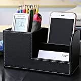 Multi-functional Pen Holder, Zubita Office Desk Organizer PU Leather Business Cards Holder and Pen Container Desk Supplies Organizer for Pens Pencils Mobile Phone and Cards ( Black )