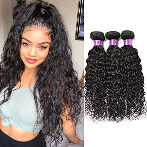 FASHION QUEEN Hair Brazilian Water Wave 3 Bundles Wet And Wavy Human Hair Brazilian Virgin Human Hair Extensions (14 16 18 inch)