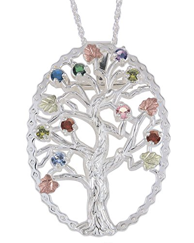 Multi Gemstone Tree Pendant Necklace, Sterling Silver, 12k Green and Rose Gold Black Hills Gold Motif, 18