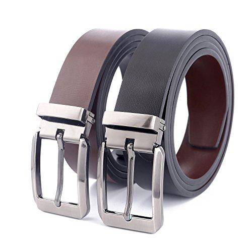 LannyQveen Men's Leather Belts Pin Buckle Belt