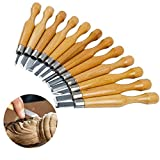 12 Sets Wood Carving Tools, SK7 Wood Carving Chisel Set with Carbon Steel and Wood Handle Professional Sculpture Sculpting Woodworking Crafting Chisel for DIY Art Craft Clay Carpentry