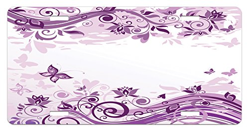 Lunarable Mauve License Plate, Vintage Style Floral Violet Branches and Swirls Valentine's Day Themed Romance Design, High Gloss Aluminum Novelty Plate, 5.88