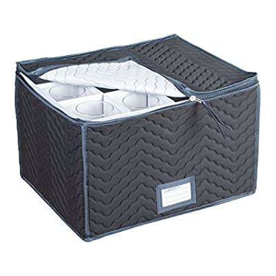 """Stemware Storage Chest -Deluxe Quilted Microfiber (Light Gray) ( 15.5"""" x 12.5 x 10"""")"""