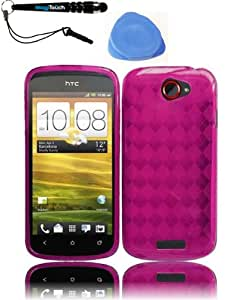 IMAGITOUCH(TM) 3-Item Combo HTC One S Flexible TPU Skin Case Cover Phone Protector - Hot Pink (Stylus pen, Pry Tool, Phone Cover)