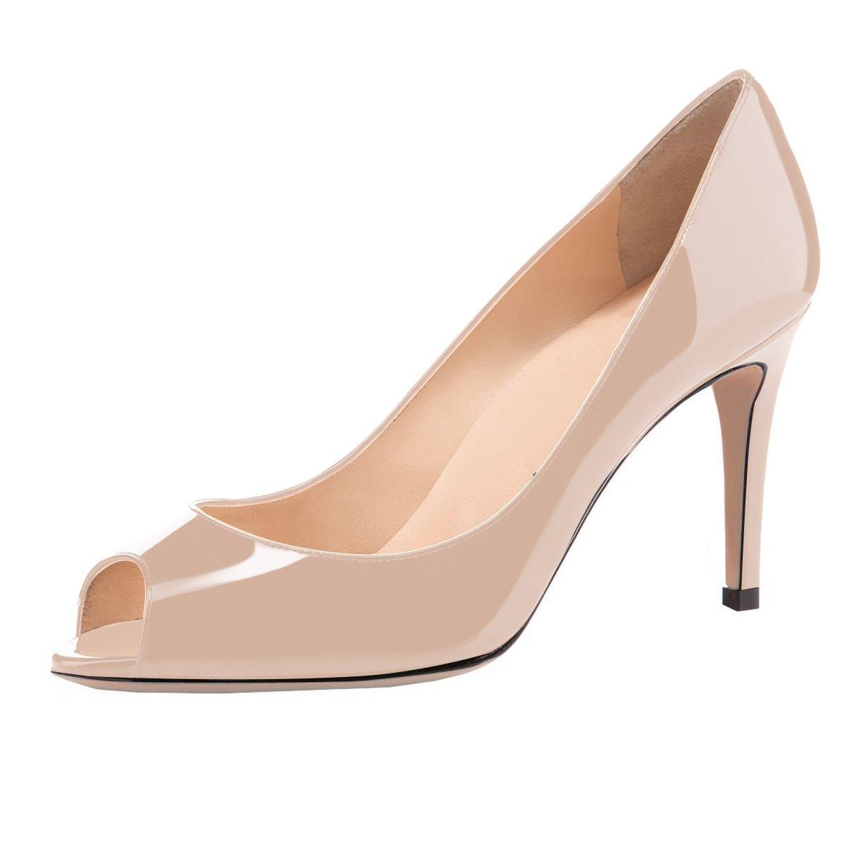 Eldof Women Peep Toe Pumps Mid-Heel Pumps Formal Wedding Bridal Classic Heel Open Toe Stiletto B07F1QNQGR 9.5 B(M) US|Beige
