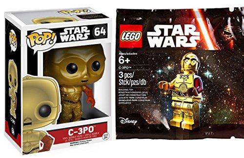 Lego Star Wars Exclusive C-3PO Mini Figure & Funko Pop! Lucas Films Pop! Star Wars: The Force Awakens C-3PO Vinyl Bobble Head Red Arm Droid