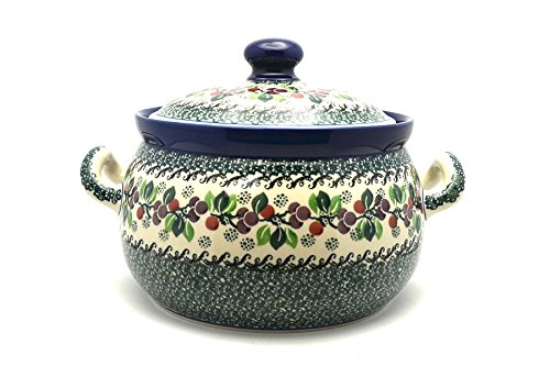 Polish Pottery Covered Tureen (without ladle slot) - Burgundy Berry Green