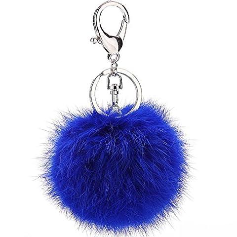 Rabbit Fur Ball Pom Pom Silver Plated Keychain with Plush for Car Handbag Decoration (Royral Blue) - Silver Plated Keychain