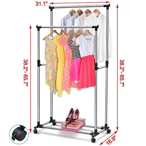 Generic O-8-O-1345-O Garmen Clothing Clothes es Hang Rolling Shoe thing C Pro Double ing Sho Hanger Garment Rack elescop Rail Telescopic NV_1008001345-TYQFUS32 by Generic