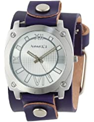 Nemesis Womens PLGB066S Roman Numeral Collection Silver on Purple Leather Band Watch