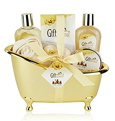 Spa Gift Basket with Sensual Rose & Jasmine Fragrance - Best Wedding, Anniversary, Birthday or Mother's day Gift for Women - Spa Gift Set Includes Shower Gel, Bubble Bath, Bath Bombs and More!