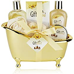 Spa Gift Basket with Sensual Rose & Jasmine Fragrance - Best Valentine's Day, Anniversary or Birthday Gift for Women - Spa Gift Set Includes Shower Gel, Bubble Bath, Bath Salts, Bath Bombs and More!