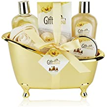 Spa Gift Basket with Sensual Rose & Jasmine Fragrance - Best Mother's Day, Wedding, Anniversary, Birthday Gift for Women and Girls - Spa Gift Set Includes Shower Gel, Bubble Bath, Bath Bombs and More!