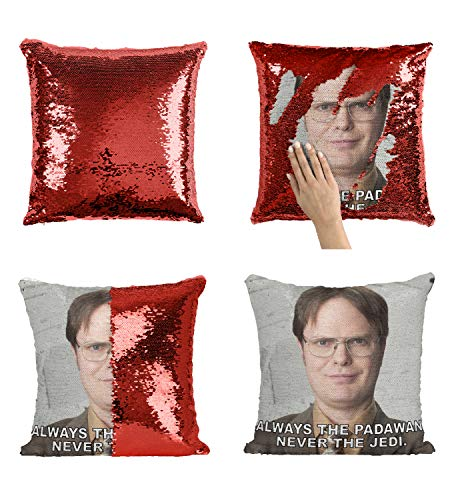 Dwight Padawan Jedi Sequin Pillow, Scales Reversible Funny Mermaid Pillow, Funny Meme Animation Pillow, Pillowcase Xmas, Birthday, Gift, Present (Cover + Insert)