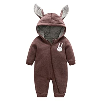 5108b5fc4f56 Toddler Girls Boys Romper with hood - Mxssi Newborn Baby Animal Jumpsuits  Overalls Warm Rompers Cotton
