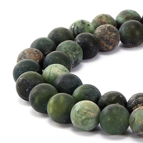 BRCbeads Gorgeous Natural Chinese Green Jade Gemstone Smooth Matte Round Loose Beads 6mm Approxi 15.5 inch 58pcs 1 Strand per Bag for Jewelry Making Green Jade Beads Necklace