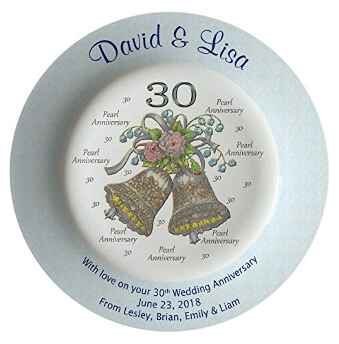 Heritage Pottery Personalized Bone China Commemorative Plate for A 30th Wedding Anniversary - Wedding Bells Design with A Blue Rim