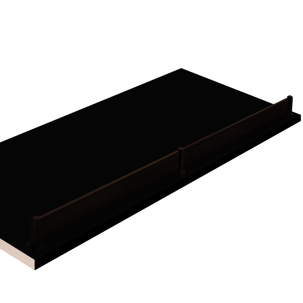 12'' W x 34'' L, black Closet Shelves with Dark oil-rubbed bronze shoe fence and PVC Edge Banding in front - CHOOSE YOUR SIZE - 2 Pack