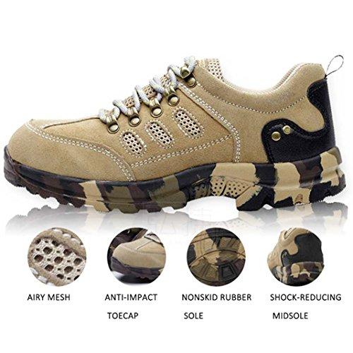 Suadeex Seguridad Zapatillas Mujer Unisex Zapatos Beige Deportivos Entrenador Acero Hombre Senderismo Trabajo De Punta AwxrEAIq