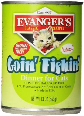 Evanger S 776413 12-Pack Natural Classic Goin Fishin Dinner For Cats, 13-Ounce