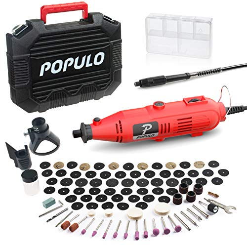 POPULO Rotary Tool Kit with 107 Accessories and Flex Shaft, Variable Speed Engraving Tool Kit for Wood Engraver Crafting…
