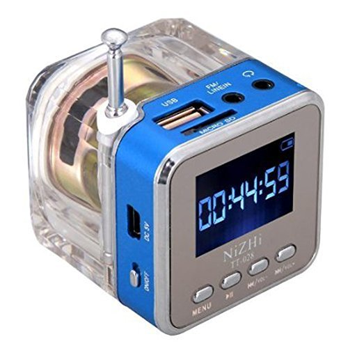 Haoponer Portable Mini Digital Display Screen Speaker USB Flash Drive Micro SD/TF Card Music MP3 Player FM Radio Blue by Haoponer