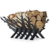 Rustic Fireplace Log and Wood Holder - Indoor, Outdoor, Patio - Gunmetal Grey Decorative Holders - Weather- Resistant Storage Rack For Firewood and Kindling - Artistic Tree Design