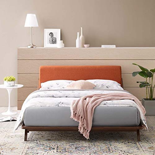 Modway Luella Mid-Century Modern Upholstered Fabric Queen Sled Platform Bed Frame With Headboard In Cappuccino Orange ()