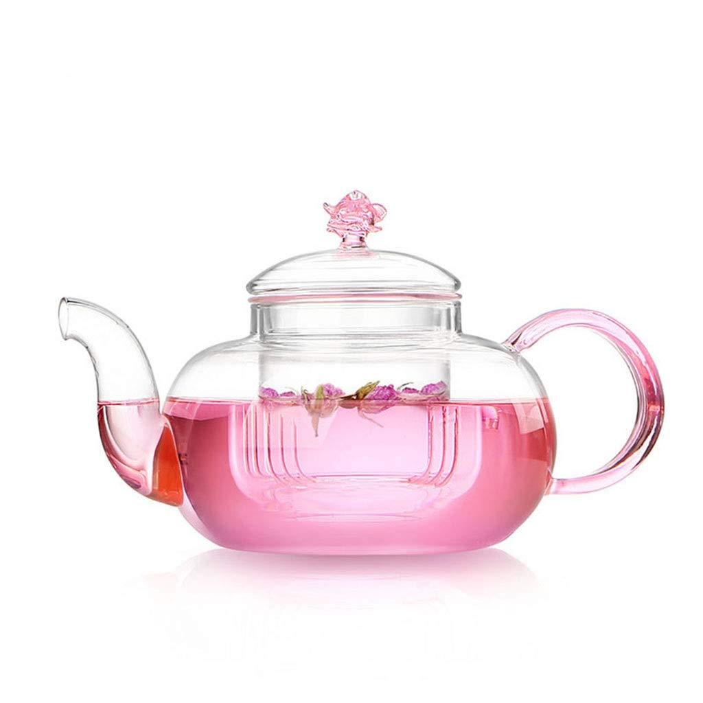 Thick glass flower teapot heat-resistant transparent tea brewing tea glass pot single pot CHAJU by CHAJU